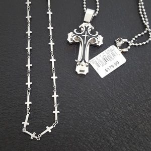 Mens Sterling & Stainless Steel Cross Necklace Lot
